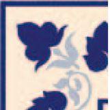 Hand Decorated Flooring - Floral blau- englische Fliesen