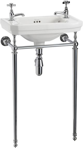 Waschbecken Burlington Victorian für Gästebad mit Chrome Stand