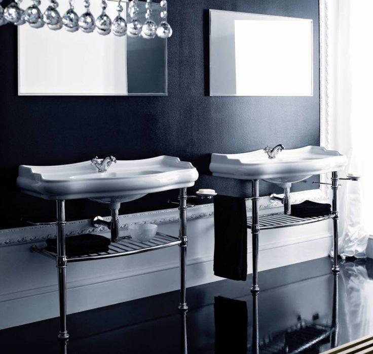 Englische Waschbecken retro waschbecken auf chrome standfüßen