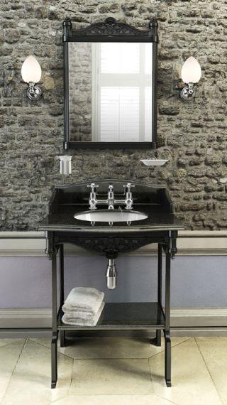 Schwarzer Granit - Waschbecken Burlington Geogian mit Waschstand