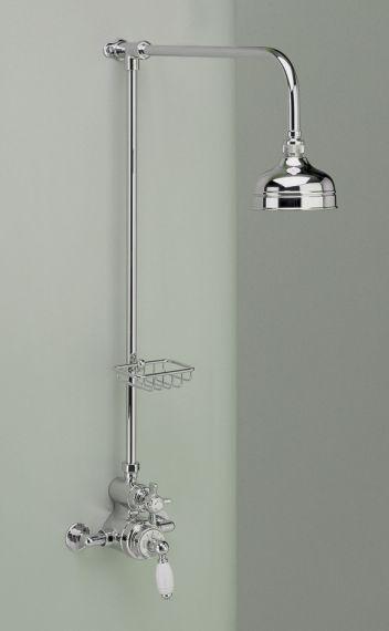 freiliegende englische Dusch Armatur mit Seifenschale und 5 inch Duschkopf