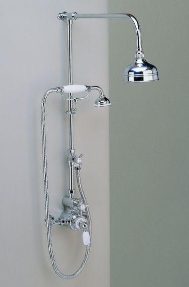 freiliegende englische Dusch Armatur mit Handbrause und 5 inch Duschkopf